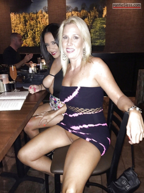 upskirt side boob shaved pussy pussy flash public flashing prostitute milf hotwife dark haired bottomless blonde  Two middle aged bimbos at the restaurant