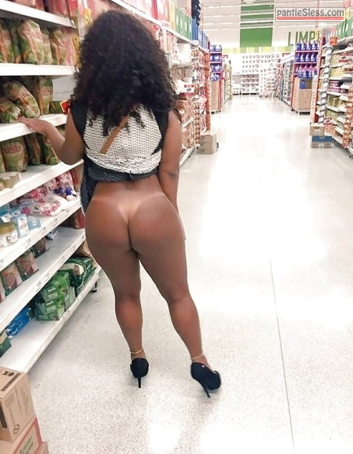 public flashing hotwife ebony bottomless ass flash  Exotic ebony GF is bottomless at supermarket showing tanlines