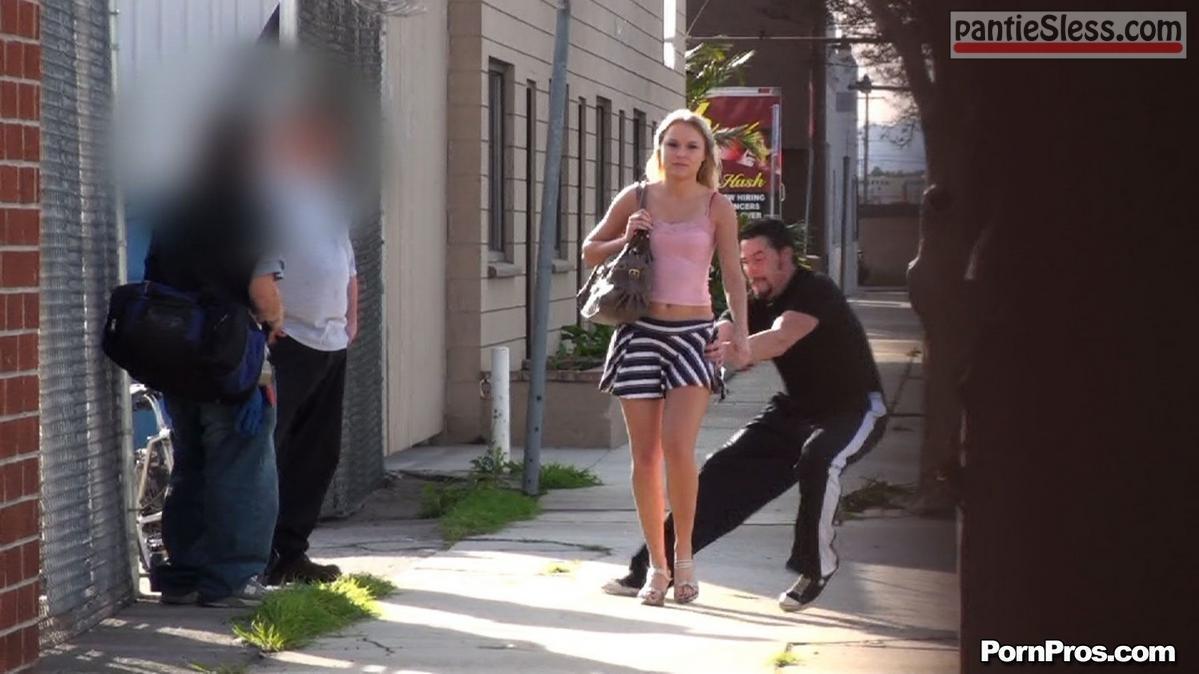 teen sharking blonde  Blonde teen in mini skirt surprised
