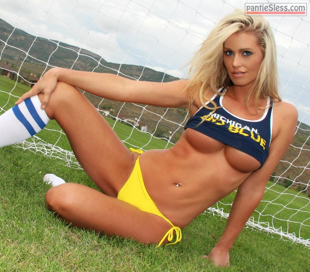 underboob pierced blonde babes  Sexy goalkeeper with blue eyes