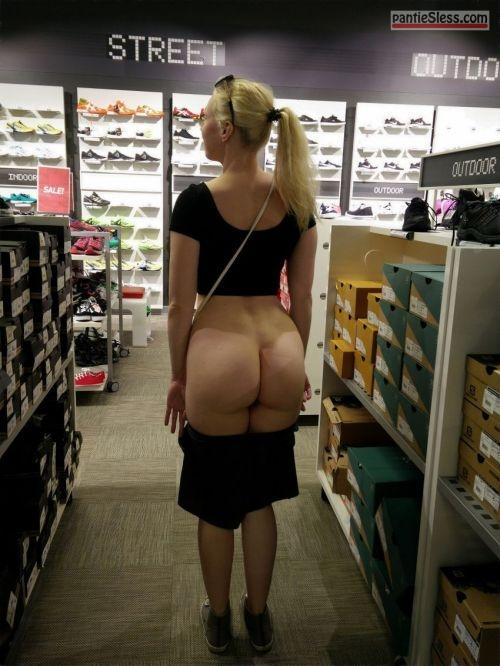 public flashing milf hotwife blonde ass flash  Blonde wife showing off big bare butt in shoes shop